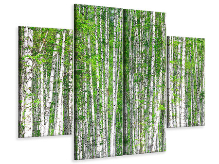 Canvasfoto 4-delig The Birch Forest
