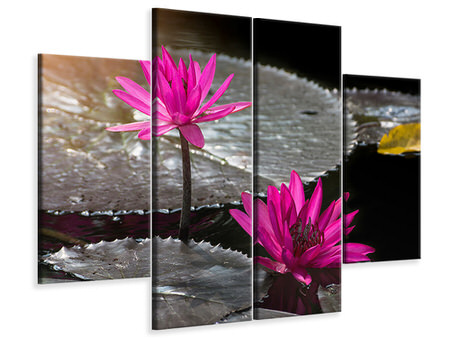 4 Piece Canvas Print Water Lily In The Morning Dew