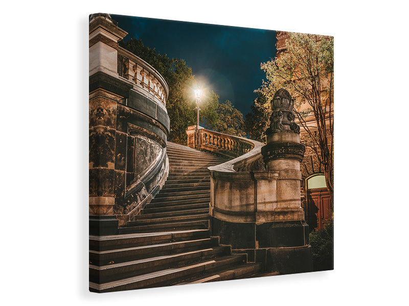 Canvas print At night in Dresden