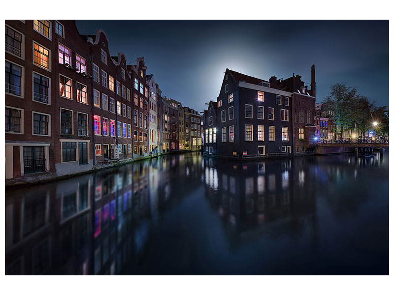 Canvasfoto Moonlight Over Amsterdam