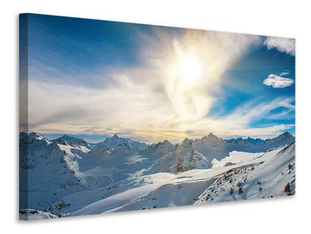 Canvasfoto Over The Snowy Peaks