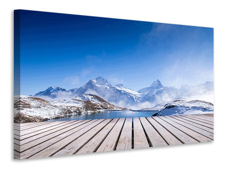 Canvasfoto Sundeck At The Swiss Mountain Lake