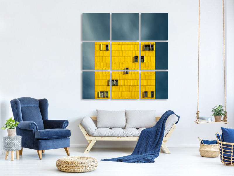 Tableau sur Toile en 59 parties Yellow And Blue III