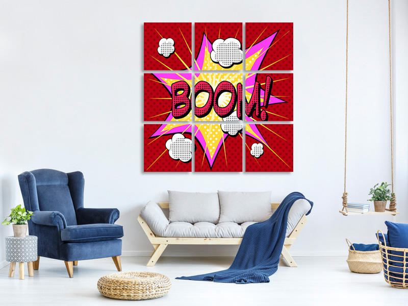 9 Piece Canvas Print Pop Art Boom